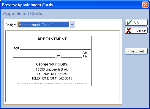 Listed below are the three Appointment Card templates available in EagleSoft